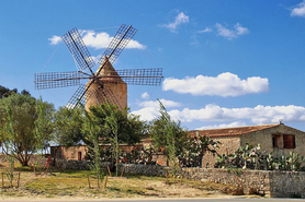Petra windmill in the middle of the island of Mallorca